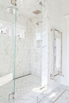 For Family bathroom. Glass enclosed Shower cabin that in our case would be white subway tiles in herringbone pattern and small marble herringbone floor tiles.