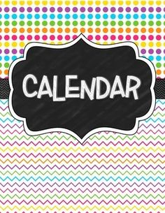 This chalkboard bright design calendar is a reusable Jan-Dec calendar and can be used yearly! Includes a cover page. NOTE: Days of the week are included, but dates on not and must be written in. SIMILAR PRODUCTS: Free Newlsetter
