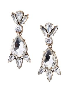 Elegant, unique and refined, these statement earrings feature a bold design in clear and antique gold color. Pair these with an elegant dress for a chic look.