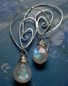 Arctic bliss earrings of rainbow moonstone by Juliana Marquis, via Flickr c 2008