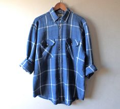 Vintage Blue Plaid Weave Button Down  Size by LittleVisionsThrift