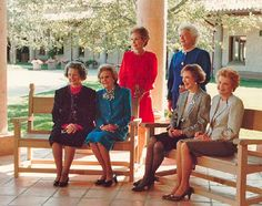 "President George H. W. Bush, 1989-1993  First Ladies gather together at the dedication of the Reagan Presidential Library in Simi Valley, California, on November 4th, 1991. Pictured from left to right is Claudia ""Lady Bird"" Johnson, Patricia Nixon, Nancy Reagan, Barbara Bush, Rosalynn Carter, and Betty Ford."