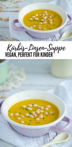 Leckere Suppe aus Kürbis und roten Linsen. Schmeckt auch mit anderen Gemüse zb Süßkartoffel ausgezeichnet. Perfekt für kleine Kinder: vegan, gesund, geht schnell.