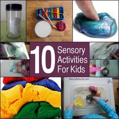 10 Sensory Activities For Toddler by Mama Natural. Great play ideas for when you're trapped indoors! http://www.mamanatural.com/10-sensory-activities/