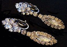 Vintage Earrings Clear Rhinestone Silver Metal Dangle Clip by BrightgemsTreasures, $18.50