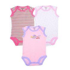 44f4d900bd6 3pcs lot Baby Girl Clothes Cotton Summer Sleeveless Baby Boy Bodysuits  Cartoon Print Clothing Set