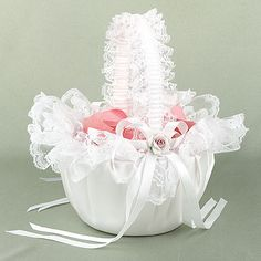 Beatiful Satin White 3d Roses Lace Flower Girl Baskets For Wedding ...