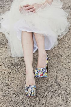 It's all in the details. This bride's comic book heels are the perfect way to show off and also keep things traditional!