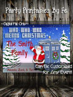 Printable Christmas Party Invitation or Card ~ Doctor Who Inspired Holiday Christmas Card Light Skinned Santa ~ I53