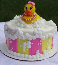 Blue ombr ruffles rubber ducky cake with gelatin bubbles