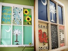 old painted windows for wall decorations! (obviously, we will do cuter paintings!)