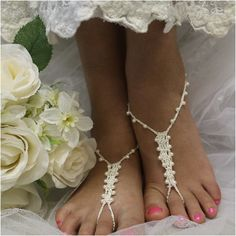 Barefoot sandals wedding, crochet, pearls, wedding feet jewelry by Catherine Cole Studio LOVE IT <3 PIN FOR LATER!