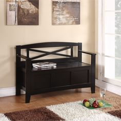 Office Star Products Entryway Bench with Flip Up Storage (Bench in Black) (Wood)