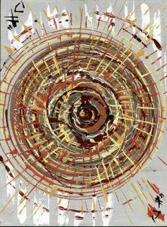"""Giuseppe Marchetti (Italy) """"5_1"""" - Smalti e pigmento metallico color oro su tavola rinforzata da telaio in legno (sul retro) cm. 40x30"""