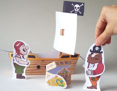 Pirate Ship and characters Digital Download by CutoutCritters Double Sided Sticky Tape, Pirate Treasure Chest, Party Kit, Free Fun, Little Pigs, Stuff To Do, Things To Sell, Make Your Own, Pirates