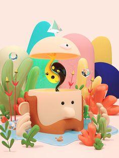 Outbreak / Pictoline Biennal on Behance 3d Model Character, Character Design, Branding, 3d Artwork, Graphic Design Posters, Illustrations, 3d Animation, Stop Motion, Cute Illustration