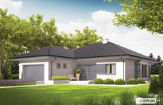 Projekt domu Eris II (wersja C) energo Modern Family House, Modern Bungalow House, Bungalow Homes, Bungalow House Plans, Dream House Plans, Modern House Design, Country Home Exteriors, House Plans 3 Bedroom, Cottage Plan