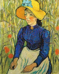 Vincent van Gogh Painting, Oil on Canvas Auvers-sur-Oise: June - late in month, 1890 Private collection F: ;JH: Image Only - Van Gogh: Young Peasant Woman with Straw Hat Sitting in the Wheat Vincent Van Gogh, Art Van, Monet, Desenhos Van Gogh, Van Gogh Arte, Van Gogh Pinturas, Most Expensive Painting, Van Gogh Portraits, Painting Portraits