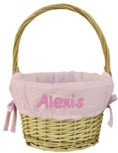 With a 9 inch diameter, this is a smaller version of award winning personalized Easter basket. Large enough to hold plenty of eggs and chocolate and other Easter delights, this perfect personalized Easter basket is ready for egg hunting or surprise chocolate treats. Lined with pink gingham and tied with side bows we personalize with an embroidered name or monogram.
