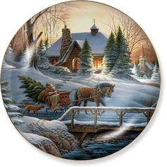 Billedresultat for terry redlin art Christmas Decoupage, Christmas Plates, Christmas Scenes, Noel Christmas, Winter Christmas, Christmas Crafts, Christmas Decorations, Christmas Ornaments, Holiday