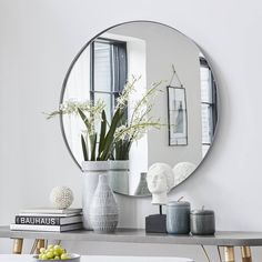 The 'Milly' mirror is gorgeous and a classic piece that will complement any home. Great for all interiors the size of the mirror will create the illusion of space in a smaller room. Constructed of iron and glass. Decor, Home Accessories, Interior, Home Decor, Circular, Soothing Colors, Jar Storage, Petrol Blue, Mirror