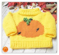 Pumpkin Patch Pullover Knitted  Pattern Child Sizes by LaurelArts