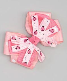 Look at this #zulilyfind! Pink Ladybugs Sunshine Bow Clip #zulilyfinds