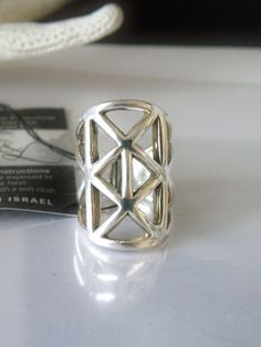 Designer E&L Israel Modernist Electroform Sterling Silver Caged Tall Ring Size 5 #EL #Knuckle #ModernistJewelry #ModernSterlingRing #ModRing #UniqueSterlingRing