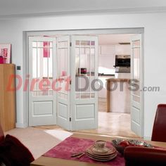 Nuvu Downham White Folding 4 Door Set  with Bev Clear glass, 2078mm high & 2816mm wide.