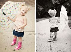 A rain theme for Kevin and Ashley now & then later, we add in a kid picture :)