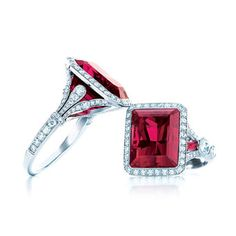 Platinum and emerald-cut rubellite and diamond rings by Tiffany & Co.