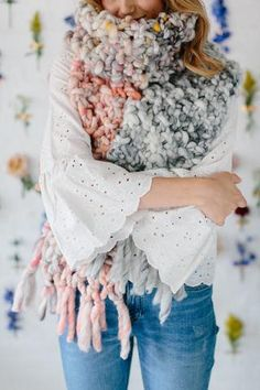 Counting Sheep Scarf Pattern – Knit Collage ~ Chunky, bulky knit scarf pattern in our Wanderlust or Flower Child yarn! Crochet Poncho Patterns, Knitted Poncho, Knitting Patterns, Cowl Patterns, Chunky Knit Scarves, Chunky Knits, Chunky Yarn, Beginner Knit Scarf, Beginner Crochet