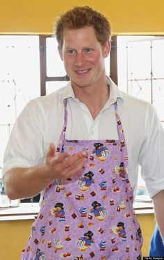 Prince Harry In Teddy Bear Apron! Prince Harry cooks cakes as he visits Kananelo Centre for the deaf, a project supported by his charity Sentebale on 27 Feb Wouldn't it be great to see Harry in an apron
