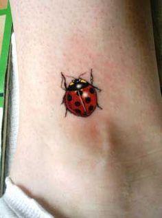 Red Ladybug Beetle Tattoo On Ankle
