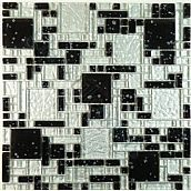Midnight Sky & Ice Micro Versailles Unique Shapes Silver Crystile Blends Glossy Glass Tile