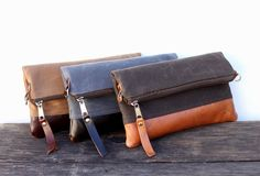 Waxed Canvas Leather Small Convertible Messenger Bag/Foldover Clutch