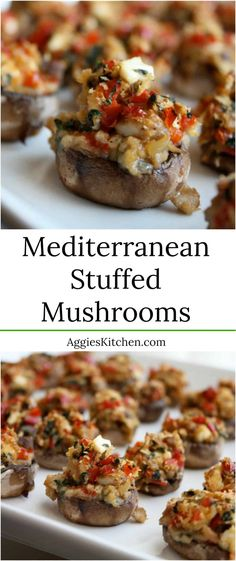 These Mediterranean Stuffed Mushrooms are a wonderful light and delicious (vegetarian) appetizer, perfect for entertaining. via These Mediterranean Stuffed Mushrooms are a wonderful light and delicious (vegetarian) appetizer, perfect for entertaining. Mushroom Appetizers, Light Appetizers, Vegetarian Appetizers, Healthy Appetizers, Mushroom Recipes, Appetizers For Party, Appetizer Recipes, Vegetarian Recipes, Healthy Recipes