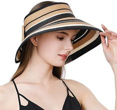Jeff & Aimy Large Wide Brim Straw Visor Sun Hat for Women UPF 50 Crushable Summer Beach Travel Safari Sunhat Khaki Beach Travel, Beach Trip, Summer Beach, Safari, Straw Visor, Sun Hats For Women, Accessories, Fashion, Female Fashion
