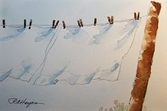 White Sheets on Country Clothesline by Roseann Hayes