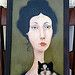 Cassandra Barney - Ellie and Her Cat Original Oil Painting por Hidden Ridge Gallery