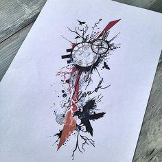 Trash polka tree, clock and raven