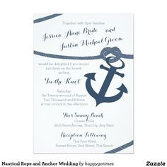 "Nautical Rope and Anchor Wedding Card ""Tie the Knot"" at the beach with this fun rope and anchor nautical wedding invitation in navy blue."