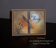 """By Erin Barker. Image stamp from Stampin' Up set """"Serene Silhouettes."""" Background sponged, spritzed with Champagne Mist shimmer paint (mixed with rubbing alcohol). Scrapbooking, Scrapbook Cards, Card Making Inspiration, Making Ideas, Serene Silhouettes, Sorry Cards, Sympathy Cards, Greeting Cards, Men's Cards"""
