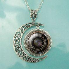 Vintage Graphex Camera Lens Moon Charm Necklace
