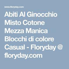 Abiti Al Ginocchio Misto Cotone Mezza Manica Blocchi di colore Casual - Floryday @ floryday.com