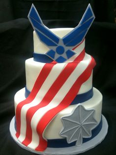 Air Force Cake Vanilla cake with strawberry preserves. White buttercream frosting and flag / Air Force logo made with fondant. Retirement Cakes, Retirement Ideas, Military Retirement, Retirement Invitations, Teacher Retirement, Strawberry Vanilla Cake, Strawberry Preserves, White Buttercream Frosting, American Flag Cake