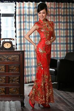 Red Floor Length Qipao / Chinese Cheongsam Wedding Dress