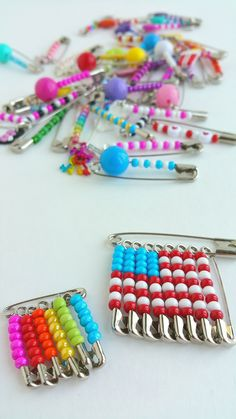 she even made some friendship pin earrings! so fun ♥ Safety Pin Crafts, Safety Pin Jewelry, Safety Pin Earrings, Diy Resin Crafts, Bead Crafts, Jewelry Crafts, Accesorios Casual, Girl Scout Swap, Kids Jewelry