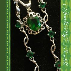 #Emerald Rain     #Exquisite  matching #silver filled and #Emerald  tennis #bracelet and #pendant. Adds #elegance and #dignity to any formal wear or #brightens up a tank and jeans. | Shop this product here: http://spreesy.com/JewelsByScarlett/174 | Shop all of our products at http://spreesy.com/JewelsByScarlett    | Pinterest selling powered by Spreesy.com
