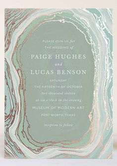 Grayed Jade Agate Slice Inspired Invitation Design #wedding